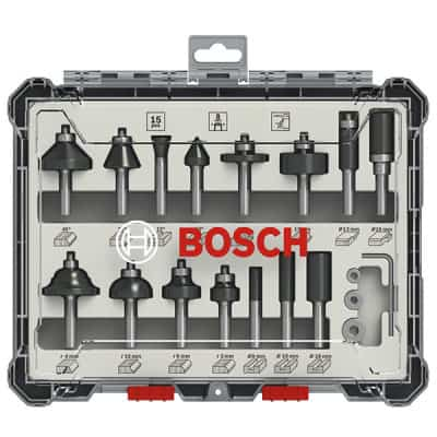 BOSCH Kit de 15 fraises mixtes à queue de 8mm - 2607017472