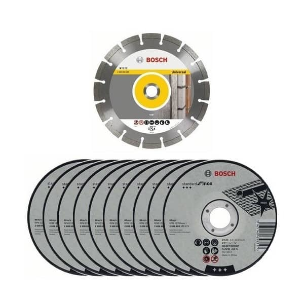 BOSCH 10 disques Ø125 metal/inox + 1 disque diamant Univ.