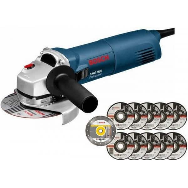 PACK - BOSCH Meuleuse Ø 125 mm 1400 W + 11 disques - GWS1400 pack
