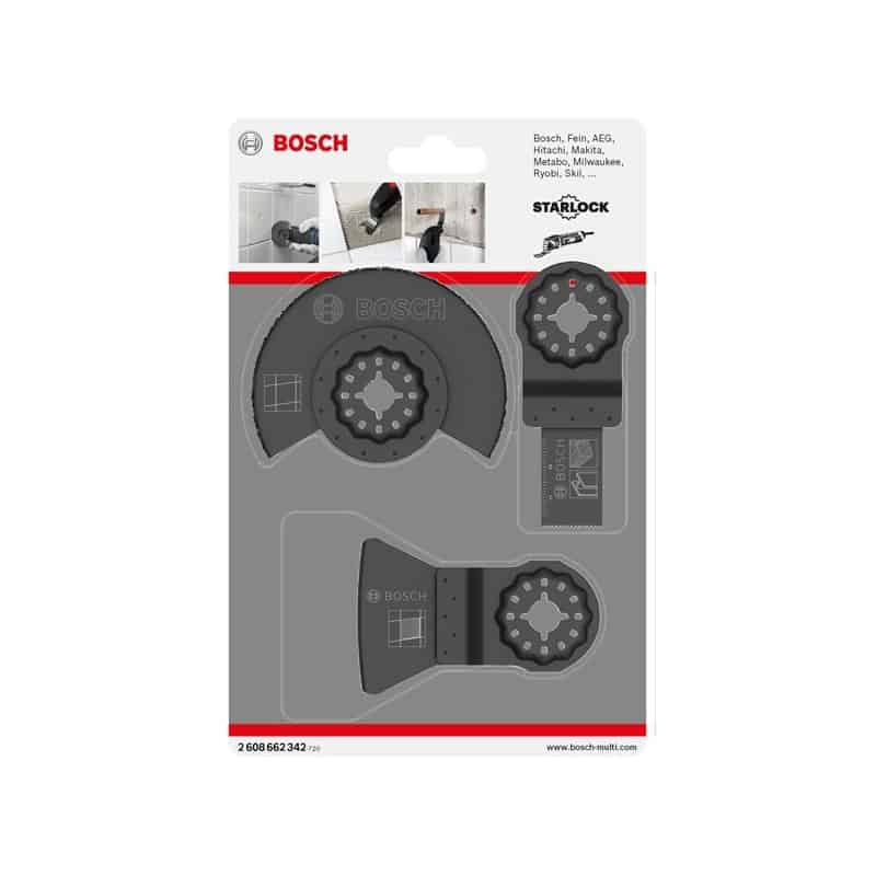 bosch set universel starlock 3 lames carrelage 2608662342 accessoire multifonction oscillant. Black Bedroom Furniture Sets. Home Design Ideas