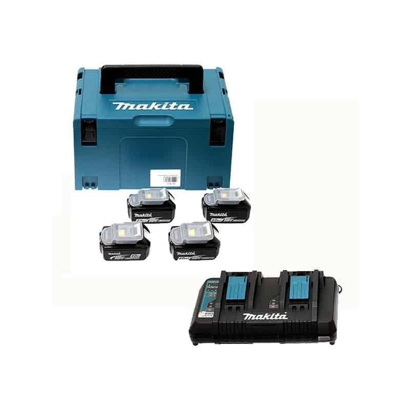 makita pack 4 batteries 18v 4ah chargeur double dc18rd. Black Bedroom Furniture Sets. Home Design Ideas